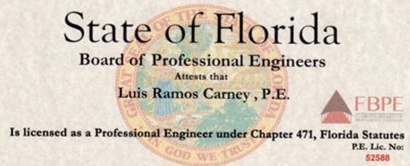 Dr Carney's Fl Professional Engineering Liscense